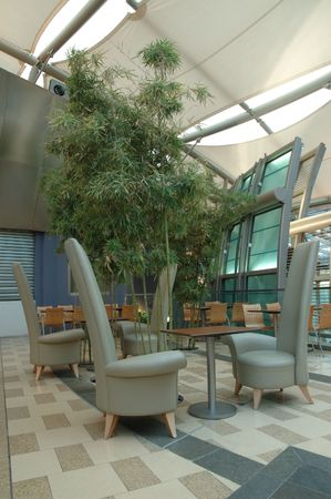 food court: Interior design of food court in a shopping mall
