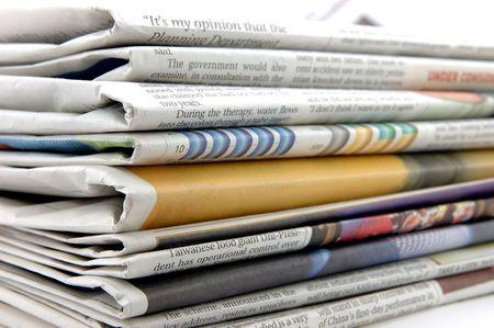 Gros plan d'une pile de journaux  Banque d'images