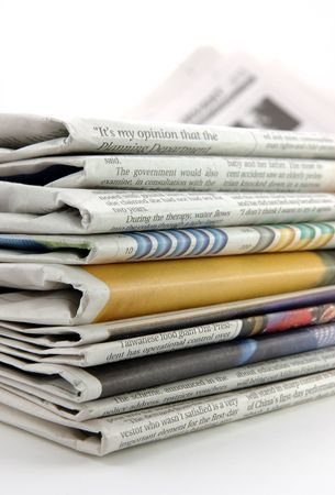 Pile of newspaper in isolated background Stock Photo - 600966