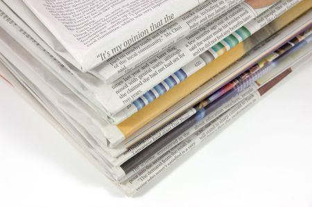 Pile of newspaper in isolated background Stock Photo - 600968