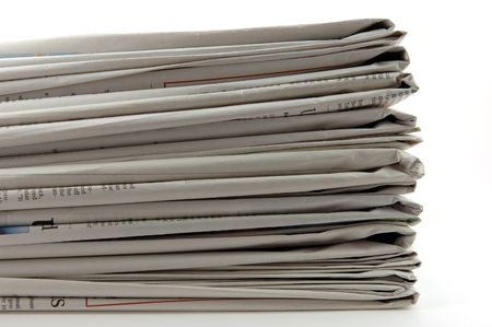 Stack of newspaper in isolated white background Stock Photo - 600964
