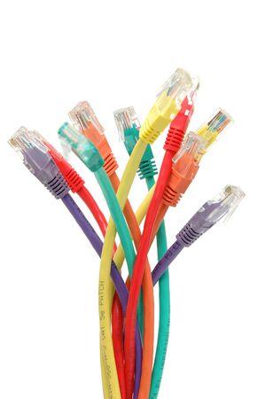 multi colour: Multi, color red cables aislados en fondo blanco