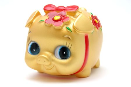 ms: Ms piggy bank in golden color, isolated white