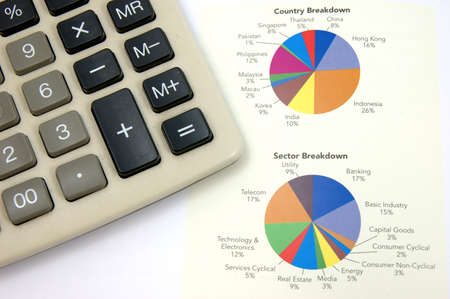 Close up of pie chart and calculator