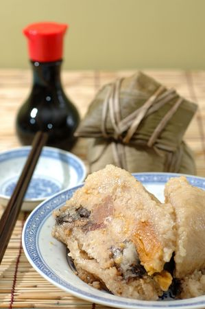 traditionally: Rice dumplings, a traditionally eaten during the dragon boat festival Stock Photo