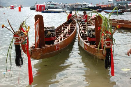 Two dragon boats ready to race Stock Photo