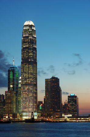 Sunset scene of business buildings in Hong Kong photo