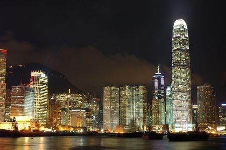 Sc�ne de nuit de paysage urbain dans Hong Kong