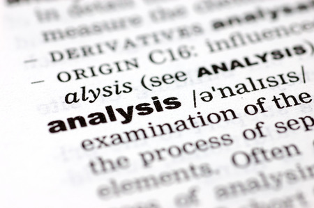 definition define: A close up of the word analysis from a dictionary