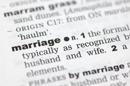 definition define: A close up of the word marriage from a dictionary Stock Photo