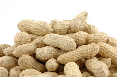 harvests: Pile of unshelled peanuts in isolated white background