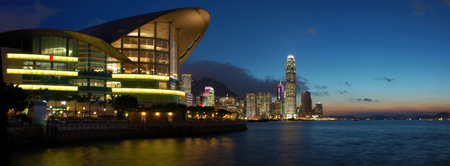 conventions: Panorama view of Hong Kong cityscape in sunset Stock Photo