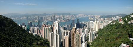 Panorama view of Hong Kong skyline from the Peak Stock Photo - 1810241