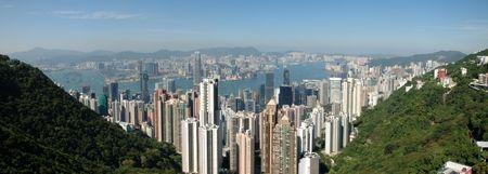Panorama view of Hong Kong skyline from the Peak Stock Photo - 1810241