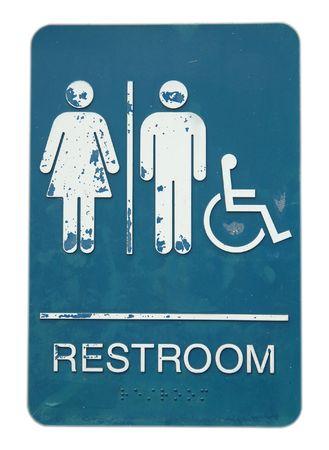 unisex: Signo de ba�o unisex y desactivar, aislados en fondo blanco