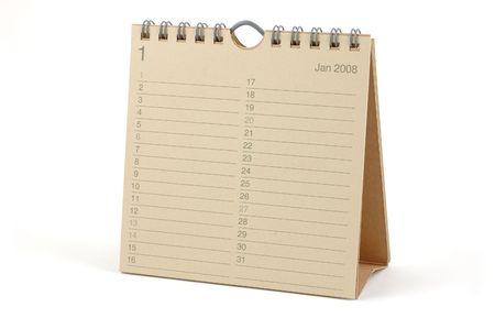 calendario escritorio: Calendario de Escritorio - enero de 2008, aislado en blanco Foto de archivo
