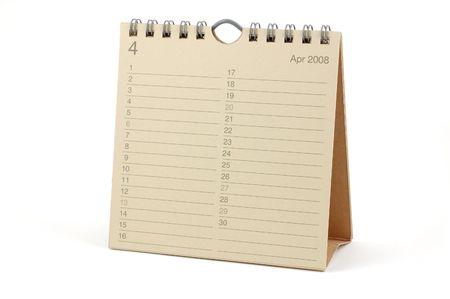 Desktop Calendar - April 2008, isolated in white Stock Photo - 2081106