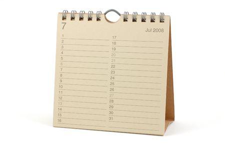 Desktop Calendar - July 2008, isolated in white Stock Photo - 2081108