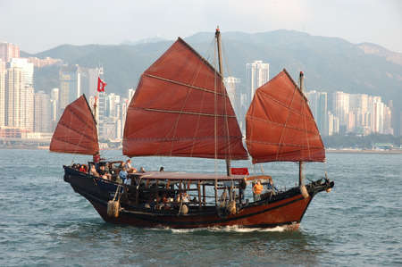 Chinese sailing ship in Hong Kong Victoria Habour Stock Photo - 2138932