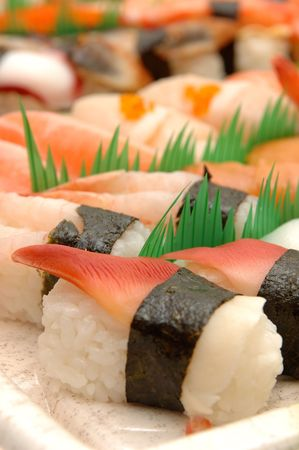 sushi plate: Close up of assorted sushi plate Stock Photo