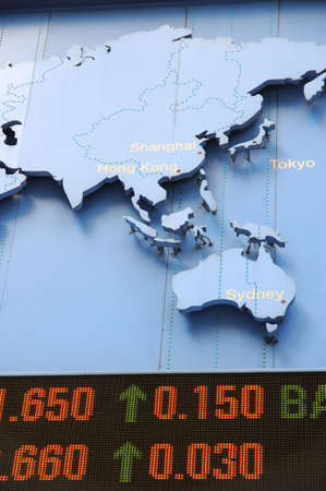 Stock price rising, with pacific region in map photo