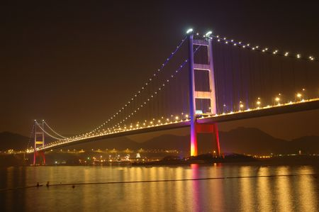 ma: Night scene of tsing ma bridge in Hong Kong Stock Photo