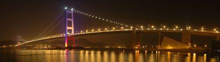 ma: Panorama view of tsing ma bridge night scene in Hong Kong