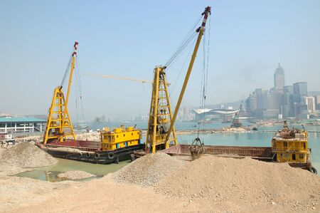 reclamation: Construction Ships working on a reclamation in Hong Kong