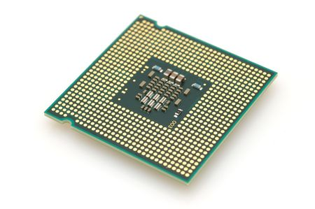 Computer dual core processor in isolated white background Stock Photo