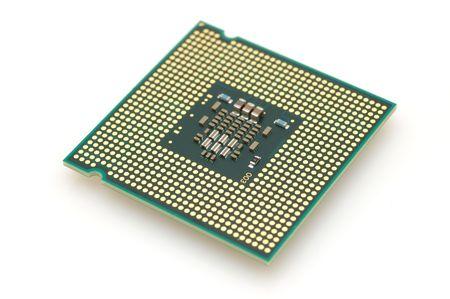 Computer processeur dual core dans les r�gions isol�es fond blanc  Banque d'images