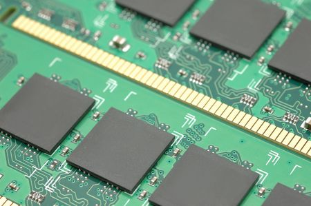 gigabytes: Close up of computer memory module chips Stock Photo