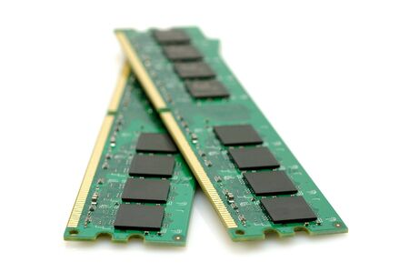 gigabytes: A pair of computer memory modules in isolated white background
