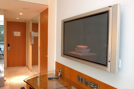 luxury hotel room: Close up of Plasma TV in hotel room