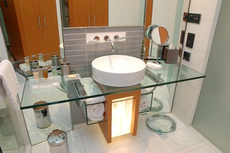 Interior details of a modern hotel bathroom photo