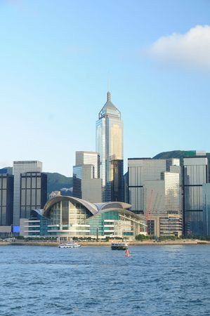 Hong Kong Convention and Exhibition Centre and skyscrapers