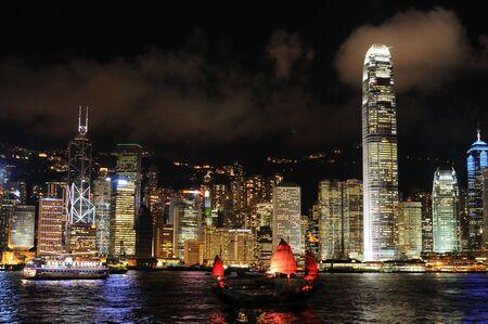 Sc�ne de nuit dans la ville de Hong Kong Banque d'images