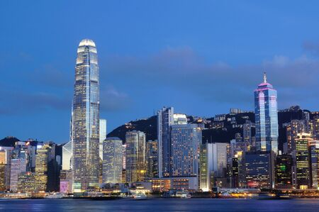 Night scene of cityscape in Hong Kong Stock Photo