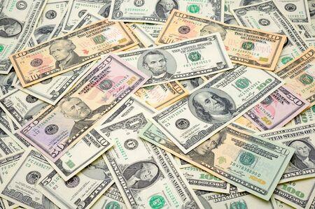 Close up of US dollar bills background