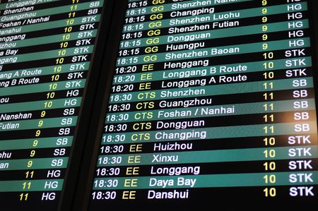 mainland: Coach schedule information board from Hong Kong to Mainland China Stock Photo