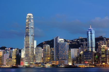 Night scene of cityscape in Hong Kong Stock Photo - 3649657