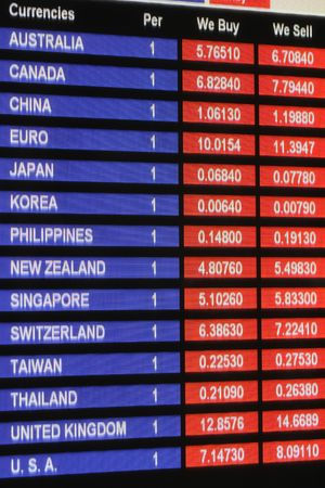 foreign currency: Exchange rate display board in airport, Hong Kong dollar vs other currencies Stock Photo