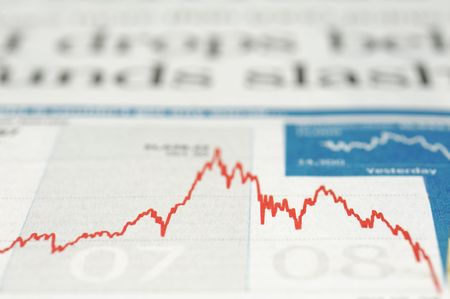 Newspaper Index chart drops in 2008 Stock Photo