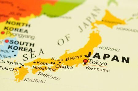 travel japan: Closeup of Tokyo city, Japan on map