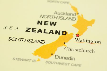 new world: Close up of Wellington, New Zealand on map Stock Photo