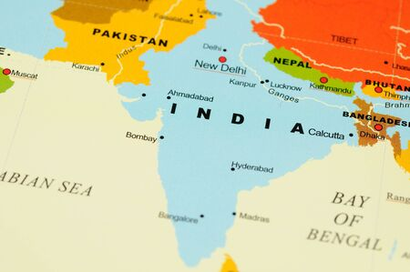 Close up of India on map