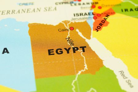 Close up of Egypt on map Stock Photo