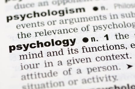 definition define: A close up of the word psychology from a dictionary Stock Photo