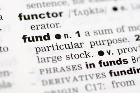 definition define: A close up of the word fund from a dictionary Stock Photo