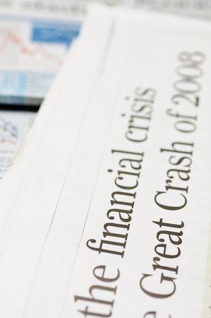 Newspaper headlines - financial crisis on 2008 photo