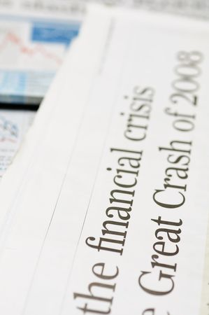 Newspaper headlines - financial crisis on 2008 Stock Photo